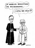 """VIGNETTA Il cardinale Ruini: """"La modesta percentuale che desideravamo"""". Ratzinger: """"L'otto per mille?!"""". Vignetta di Giannelli, a commento del mancato"""