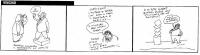 """VIGNETTA Striscia di tre vignette di Vincino, sui referendum in materia di fecondazione assistita. Nella prima, """"Pannella inaugura il monumento al vot"""