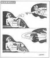 VIGNETTA Come nel quadro della Genesi di Michelangelo, Pannella nel ruolo di Adamo tiene in mano una schede elettorale per il referendum; gliela porta