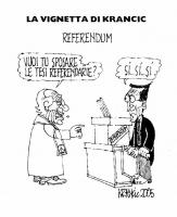 """VIGNETTA Marco Pannella, in veste di sacerdote, chiede a Gianfranco Fini: """"Vuoi tu sposare le tesi referendarie?"""". Fini: """"Sì sì sì"""". Vignetta di Kranc"""