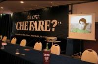 """Assemblea postreferendaria intitolata """"Che fare?"""". Foto del banner, con l'intervento in video di Luca Coscioni. Altre digitali."""