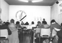 """1° congresso dell'associazione radicale del Belgio. [association radicale de Belgique] Parla Dupuis. Logo spiga nel pugno listato a lutto scritta: """"""""r"""