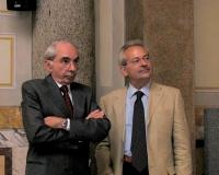 """Giuliano Amato e Mario Signorino (Amici della Terra), in occasione del convegno: """"Petrolio & atomo""""."""