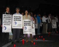 Michele De Lucia, Maurizio Turco, Sabrina Gasparrini, in occasione della manifestazione a piazza San Pietro a favore della libertà sessuale e di cosci