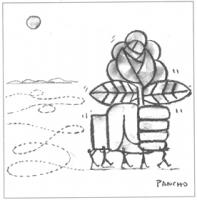 """VIGNETTA Un gruppo di omini trasportano da sinistra a destra il simbolo della rosa nel pugno. Vignetta pubblicata su """"Le Monde"""", firmata Pancho."""