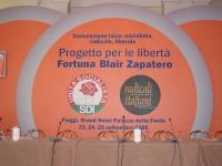 """Convenzione SDI-Radicali. Banner: """"Convenzione laica, socialista, radicale liberale - Progetto per le libertà Fortuna Blair Zapatero""""."""