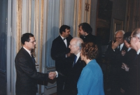 Scalfaro riceve al Quirinale delegazione congressisti stranieri del 36° congresso PR II sessione. Con Pannella