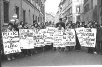 """""""manifestanti (tra cui Spadaccia, Aglietta e Bonino) con cartelli al collo: """"""""state facendo la festa alla costituzione PR"""""""", """"""""PCI e DC festeggiano la"""