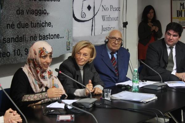 Tawakkol Karman con Emma Bonino, Marco Pannella e Niccolo' Figa-Talamanca